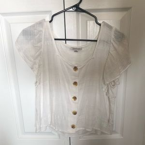 American Eagle White Linen Cropped Top